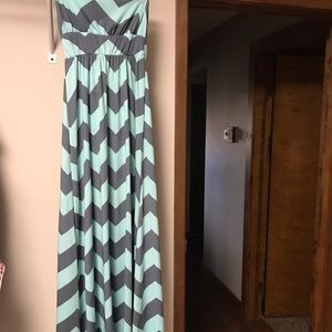 Mint and grey strapless maxi dress